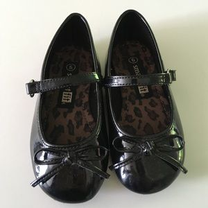 Girls Black Bow Dress Shoes